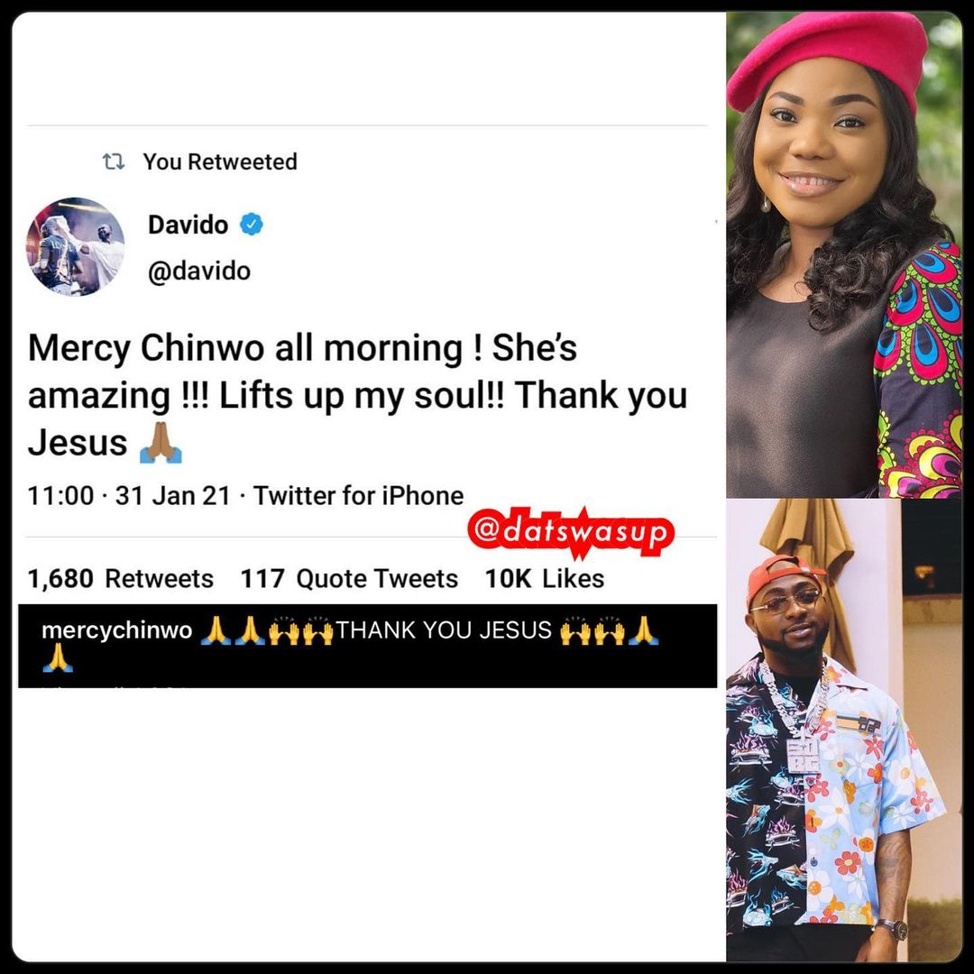 """She's amazing"" – Davido showers encomium on popular gospel artist, Mercy Chinwo"