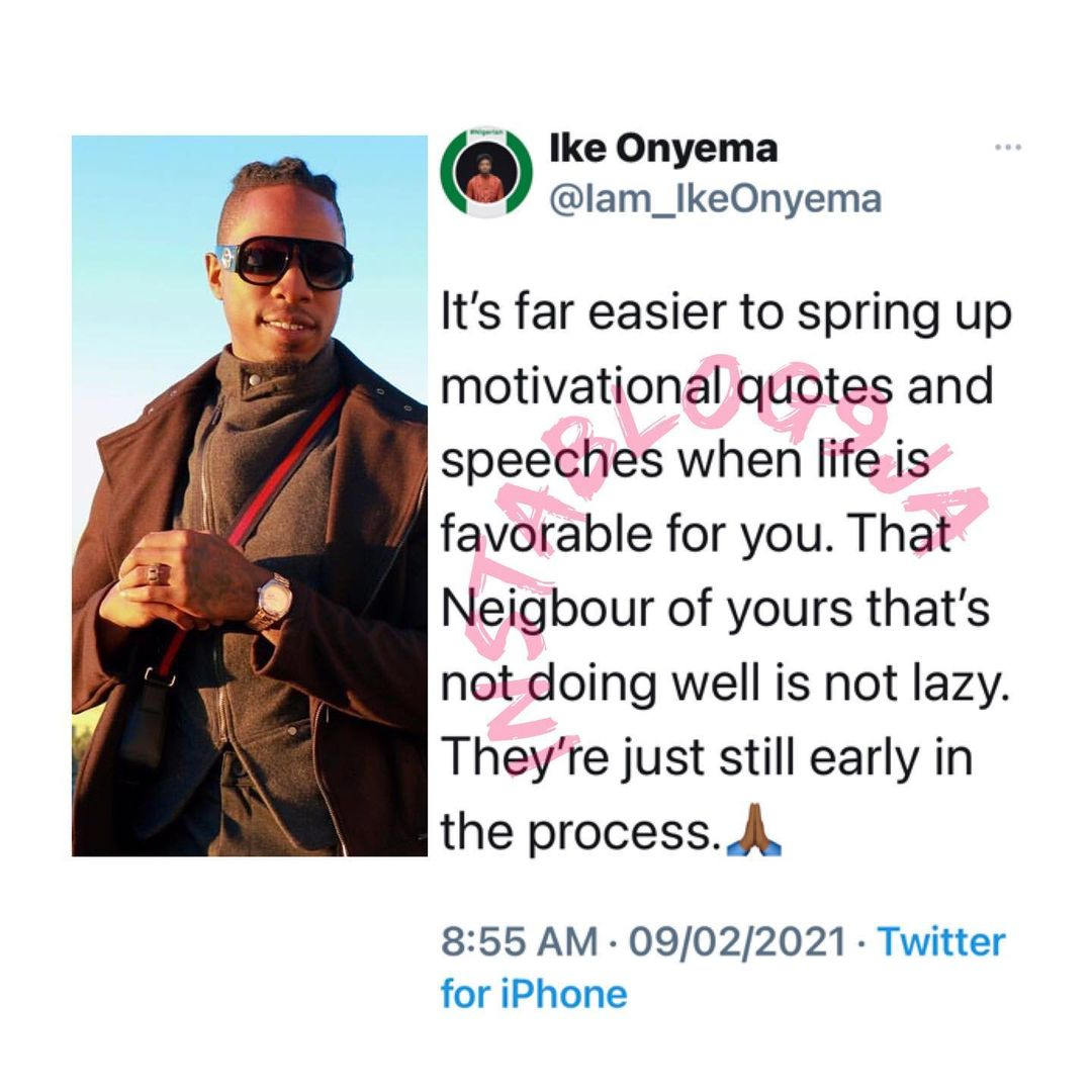 It's easy to give motivational speeches when life is favorable to you — BBNaija's Ike