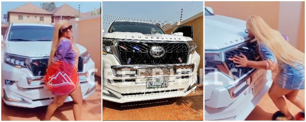 Reactions as Destiny Etiko shows off her new car, Land Cruiser Prado (Photos/Video)
