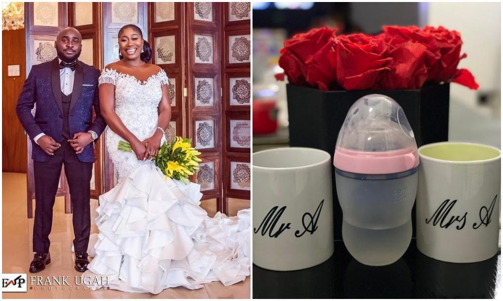 OAP Gbemi Olateru and hubby Femisoro Ajayi welcomes their first child (Photos)