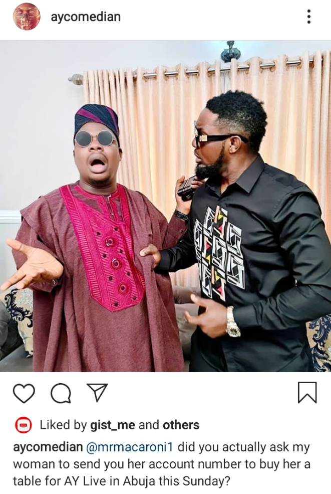 Comedian Ay drags Mr Macaroni for making advances at his wife