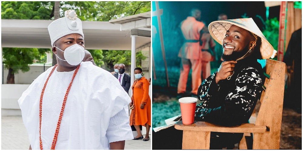 Moment Davido prostrated to greet Oba Elegushi at his 45th birthday (Video)