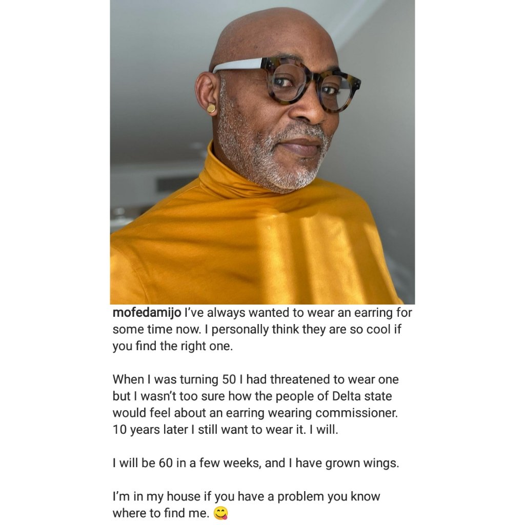 Actor Richard Mofe-Damijo shows off his earrings in newly shared photos