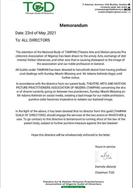 TAMPAN suspends Nkechi Blessing and Lege Miami over Baba Ijesha saga