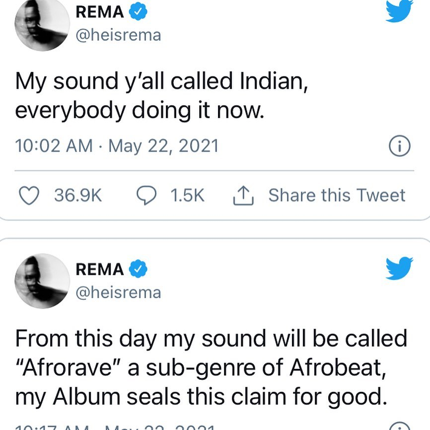 My sound should be called Afrowave, a sub-genre of afrobeat - Rema declares