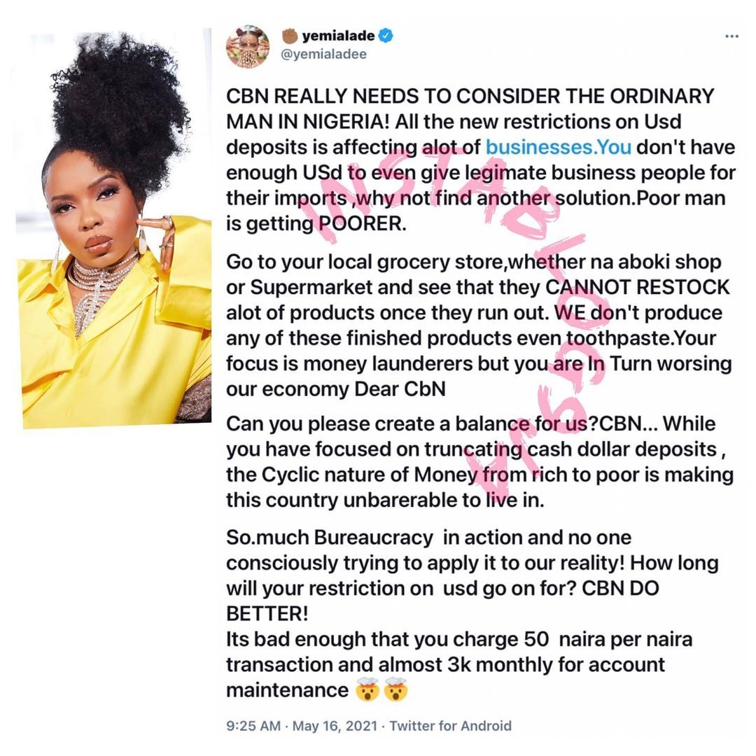 You're making this country unbearable to live - Yemi Alade tackles CBN