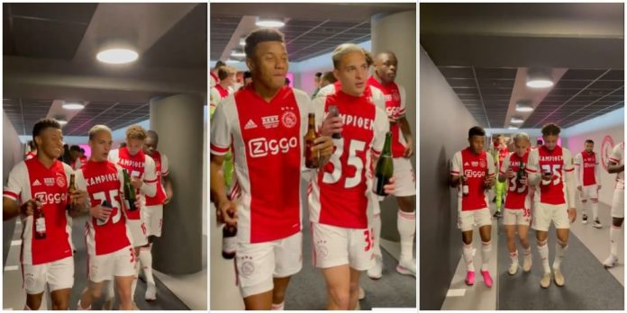 Ajax players vibe to Burna Boy's 'On The Low' as they clinch 35th Eredivisie title (Video)