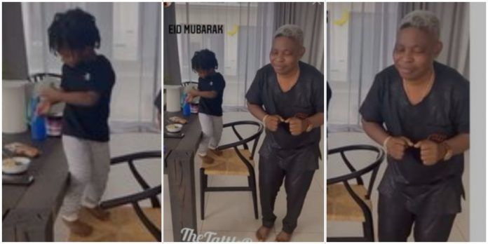 Wizkid's son, Zion, and his manager, Sunday Are, show off their dance skills (Video)