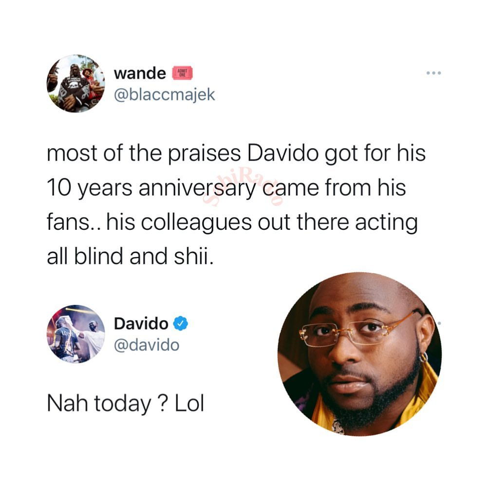 Davido finally breaks silence after top artists failed to celebrate his 10th anniversary