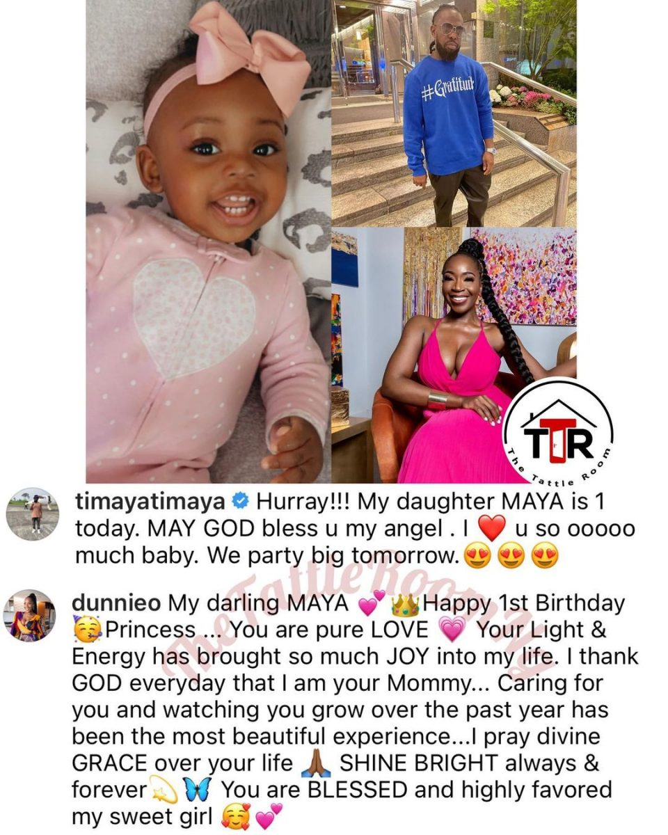 Timaya and his 3rd baby mama, Dunnie, celebrate their daughter 1st birthday