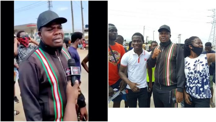 Comedian, Mr Macaroni speaks as he joins protesters in Lagos