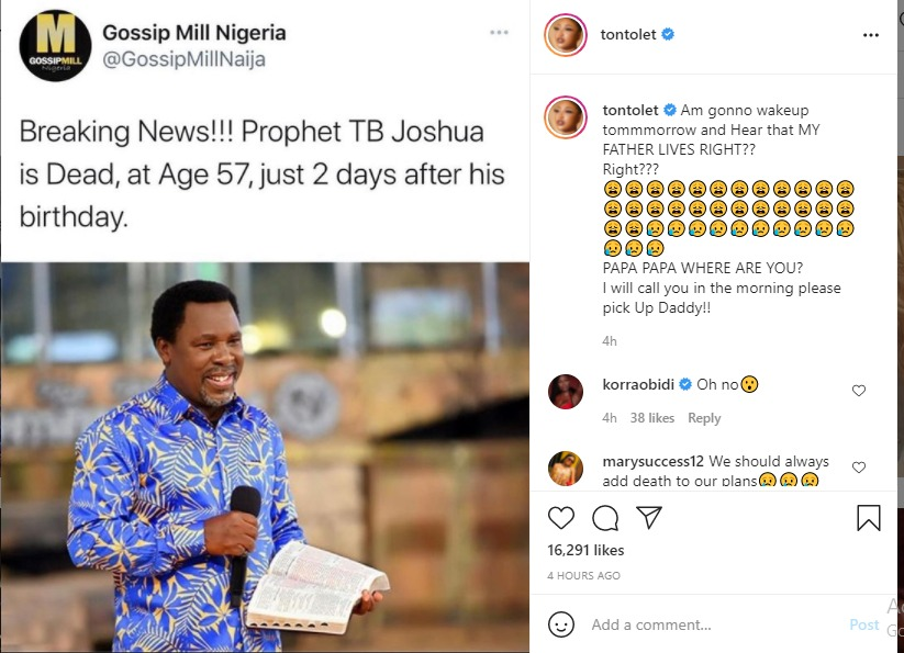 """""""Pick Up Your Call Daddy"""" - Tonto Dikeh mourns TB Joshua Death"""