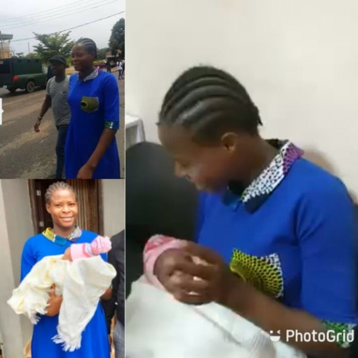 Teenage EndSARS protester, Kemisola Ogunniyi and her baby after being granted bail (Photos/video)