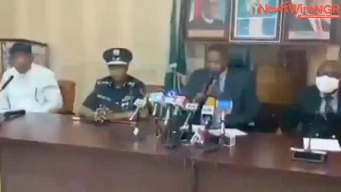 Watch moment AGF, Abubakar Malami announced Nnamdi Kanu's arrest (video)