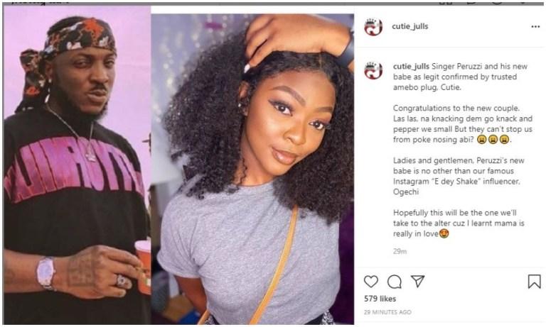 "Peruzzi allegedly dating Instagram influencer Ogechi Ukonu, aka ""E Dey Shake"""