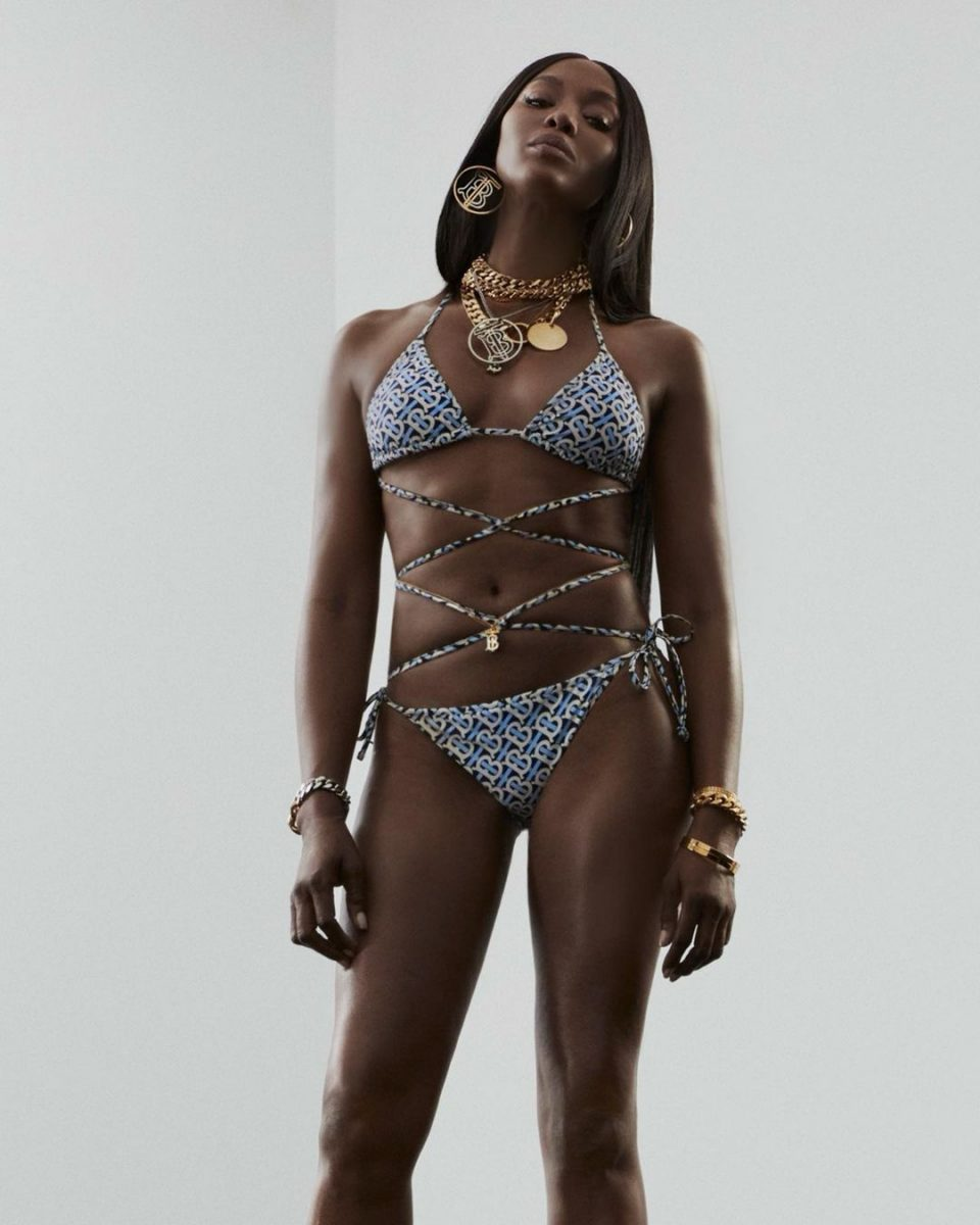 Supermodel, Naomi Campbell showcases her age-defying physique in a Burberry Bikini (Photos/video)
