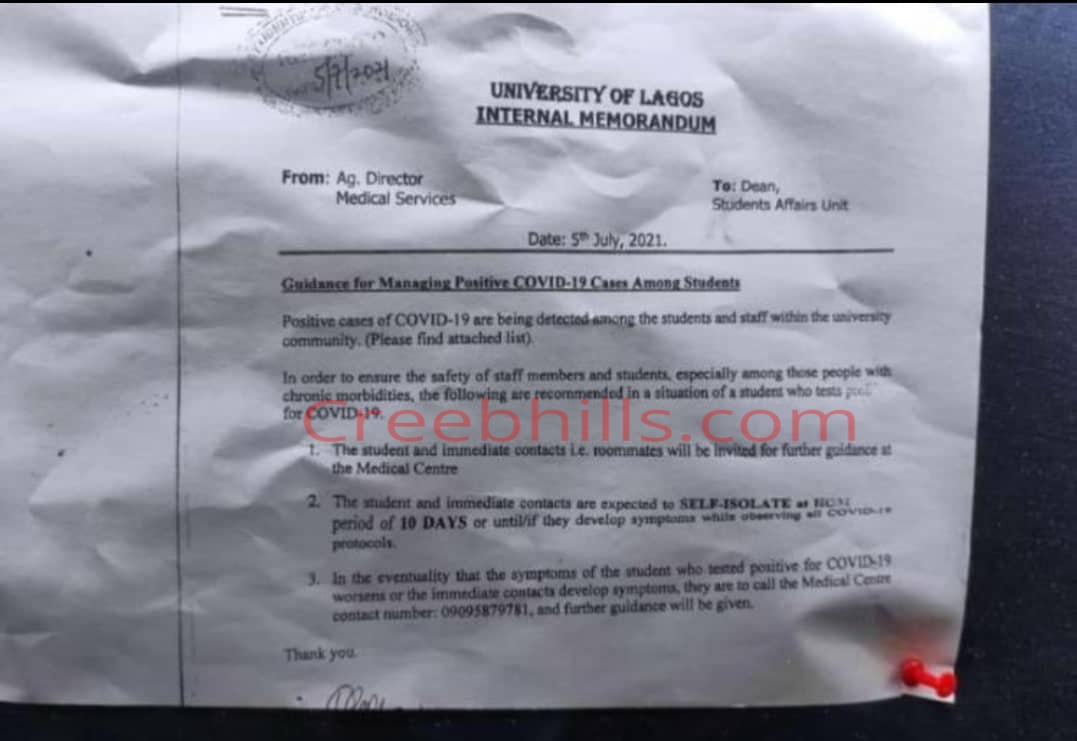 UNILAG confirms Positive cases of COVID-19 among Students and Staff