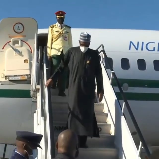 Watch moment President Buhari arrived in New York for the UNGA76 (video)