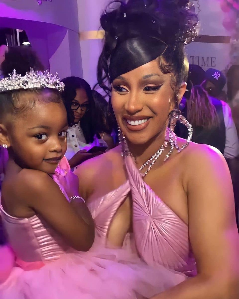Cardi B gifts daughter Kulture a blinged out charm necklace for her 3rd birthday (Video)