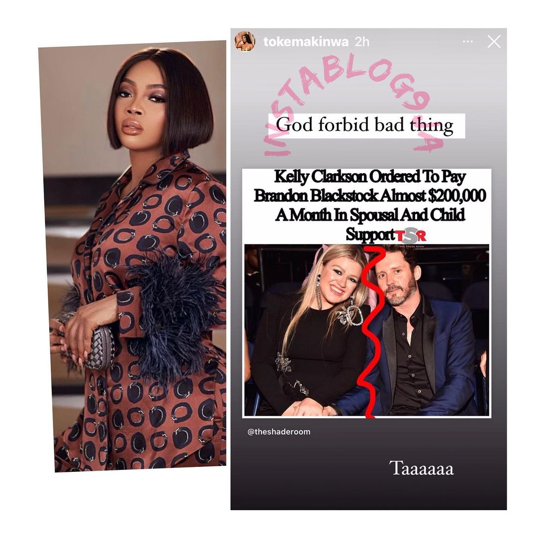 """""""God Forbid"""" - Toke Makinwa reacts to Kelly Clarkson's payment of N100M to ex-husband"""