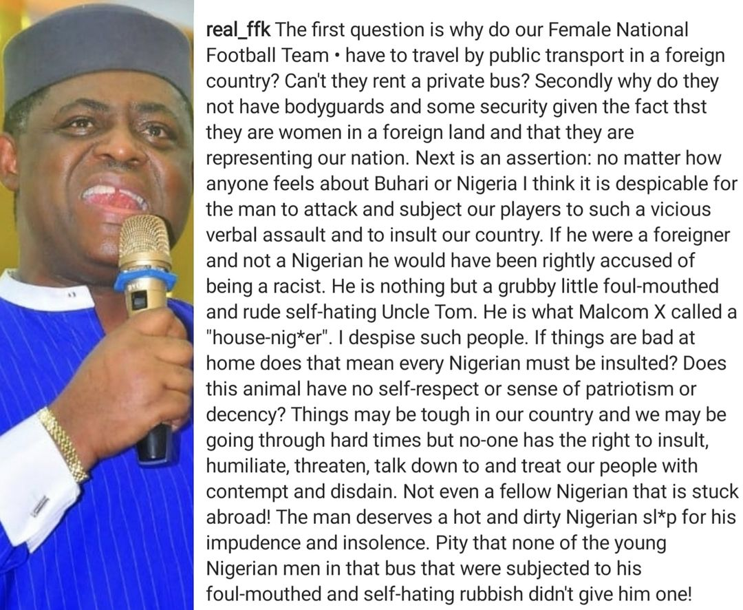 Femi Fani-Kayode reacts to Nigerian man who confronted Super Falcons players in Austria