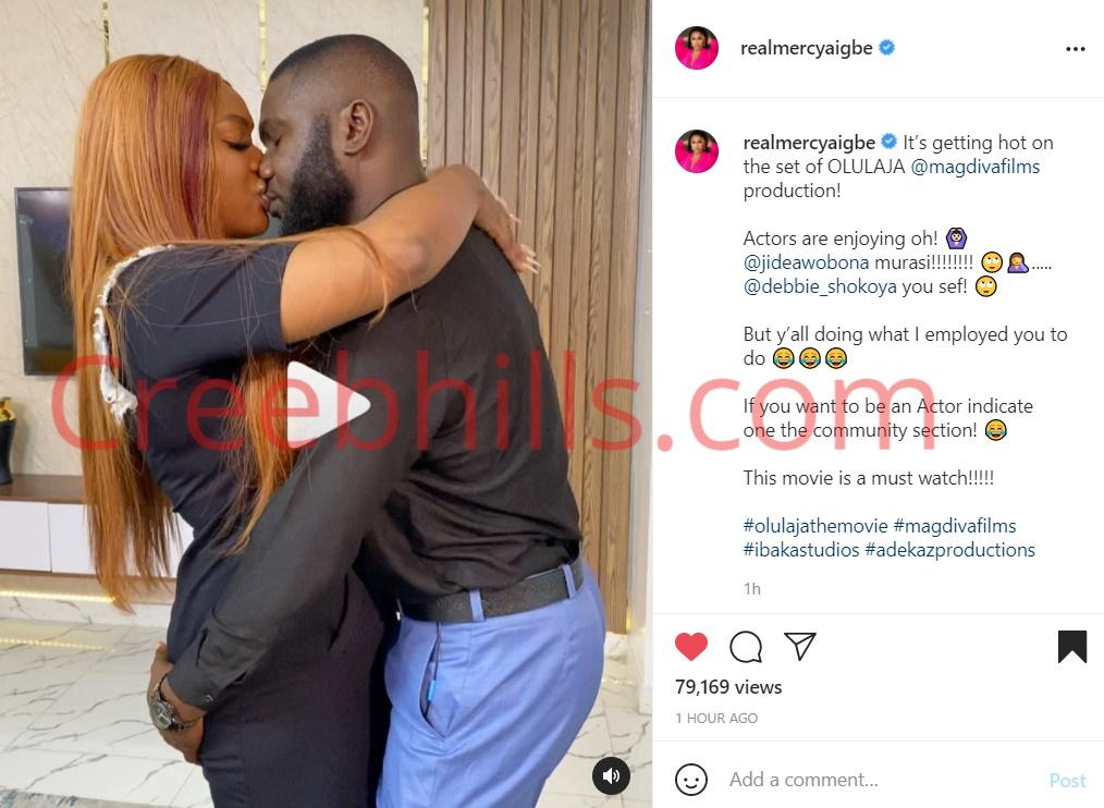 """Actors are enjoying ooo"" - Mercy Aigbe reacts as Jide Awobana kiss Actress Deborah Shokoya deeply (Video)"