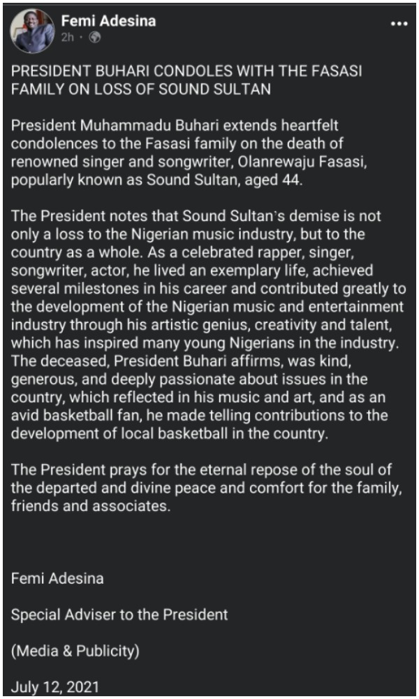 President Buhari pens emotional tribute to mourn late musician, Sound Sultan