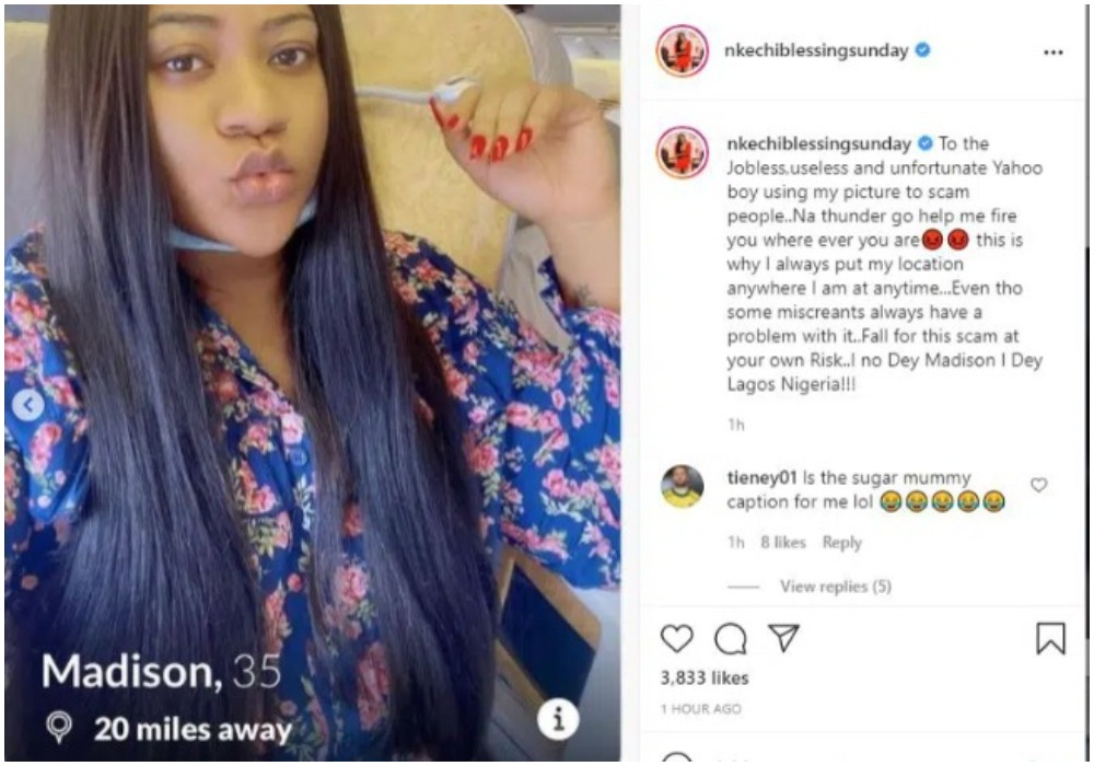 Nkechi Blessing calls out Yahoo Boys using her picture to defraud people