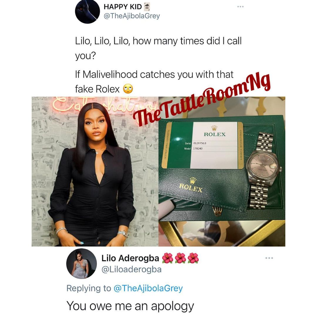 BBNaija's Lilo shows off her original Rolex watch after a Twitter user called it fake (Photo)