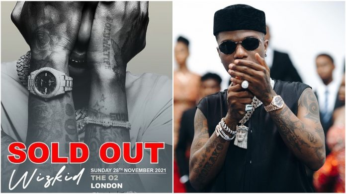 Sold out the O2 in 12mins - Wizkid Brags about Selling out the Famous O2 Arena for the Third Time