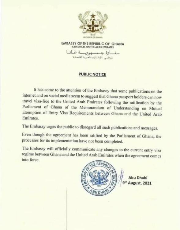 Ghanaian Embassy Debunks Free Travel Visa to UAE, Says its not yet in Force