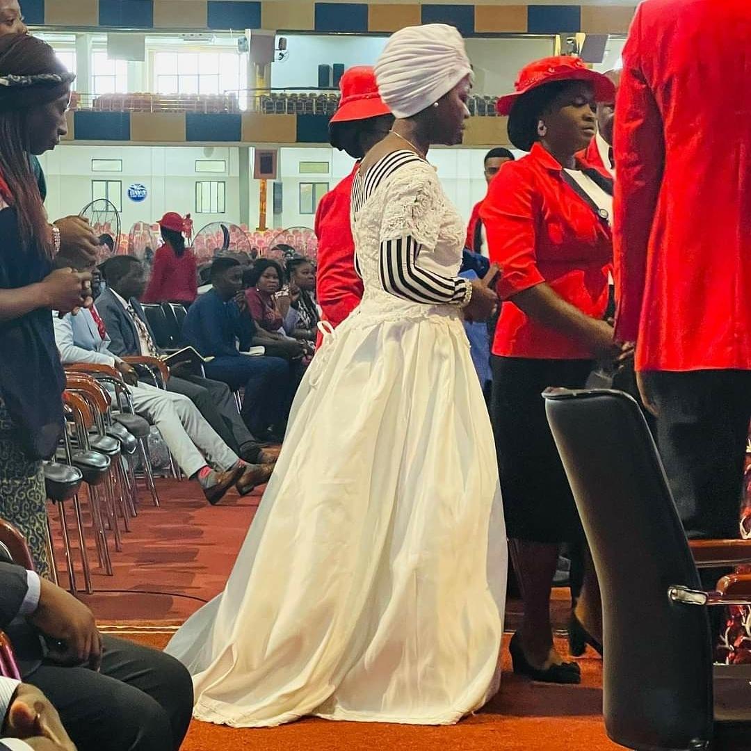 Marital Breakthrough: Woman storm church wearing a wedding dress to express her faith