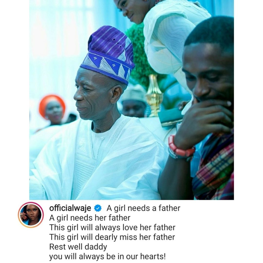 This girl will dearly miss her father - Singer, Waje writes as she losses her father