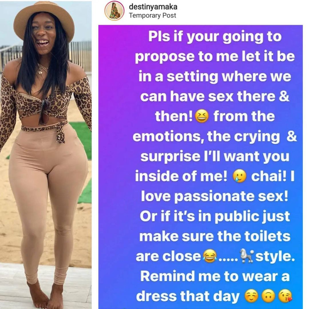 Propose to me in a setting where we can have s*x - OAP Destiny Amaka writes future hubby