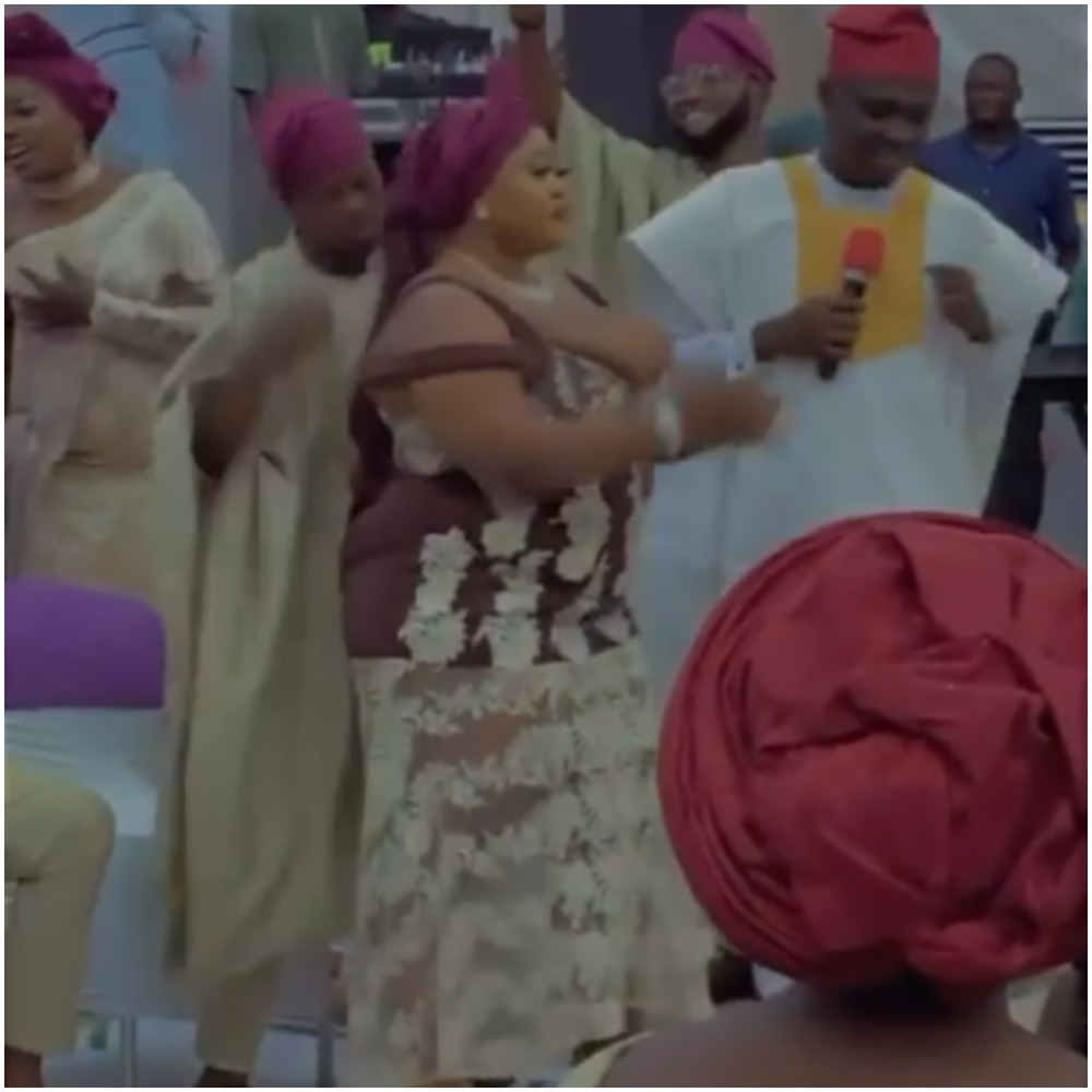 Watch moment busty Nigerian lady steals the show at a wedding, flashes her endowment (Video)