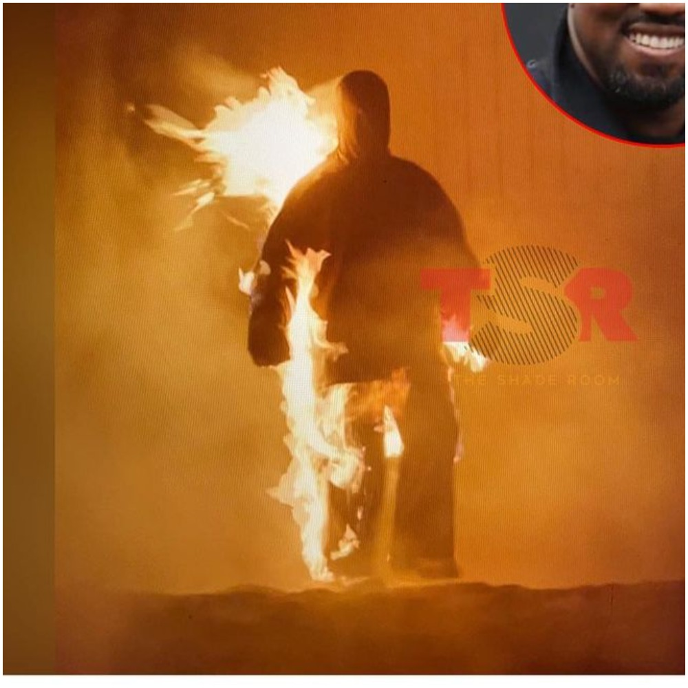 Kanye West stun fans as he graces the 'Donda' set covered in flames (Video)