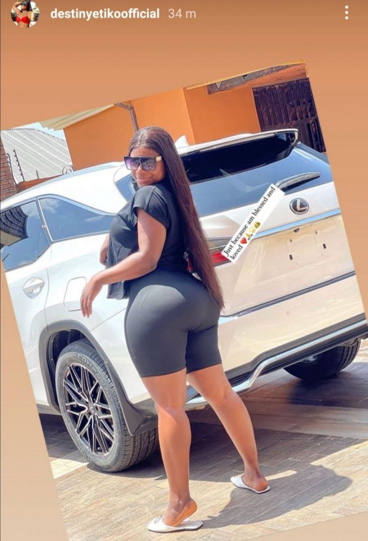 Actress Destiny Etiko acquires another Lexus Jeep worth over 10 Million Naira