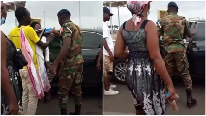 Watch moment a Military officer clashes with the wife of his colleague in traffic