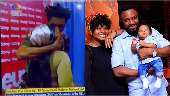 #BBNaija: Come Outside let's fight - Tega's Husband blast Boma after kissing his wife during the closeup task