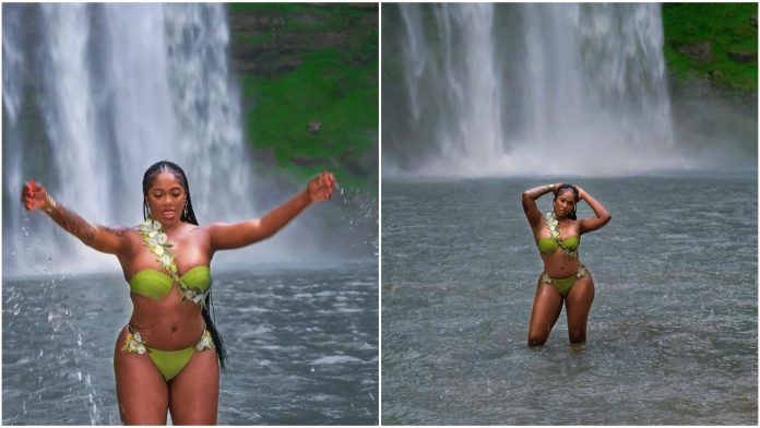 Singer, Tiwa Savage shows off her curves as she stuns out in a green bikini (Photos/Video)