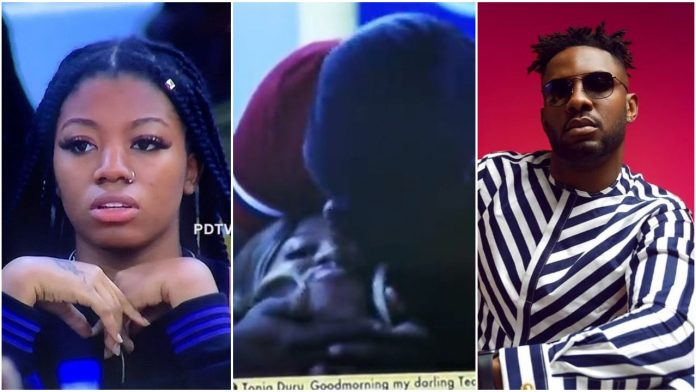 #BBNaija: Watch moment Angel Kissed Both Cross and Pere at the same time (video)