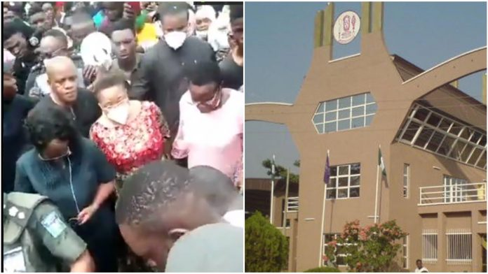 Watch moment UNIBEN Students forced VC to Trek to School Gate amid Protest over new 20,000 naira charge