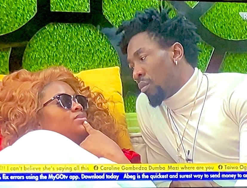 #BBNaija: Watch moment Tega off her pants before her deep kiss with Boma at the executive lounge (Video)