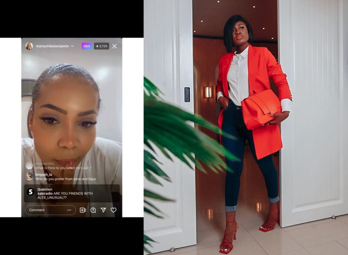 """#BBNaija: """"I don't know who that is"""" - Maria Chike reacts after been asked about Alex Unusual (video)"""