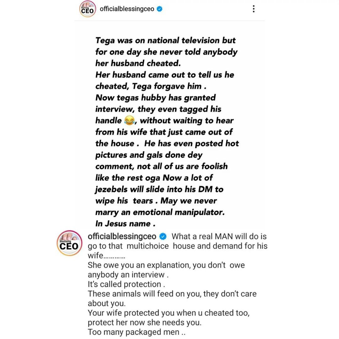 """''Cover her shame and hear from her"""" - Blessing Okoro, slams BBNaija Tega's husband"""