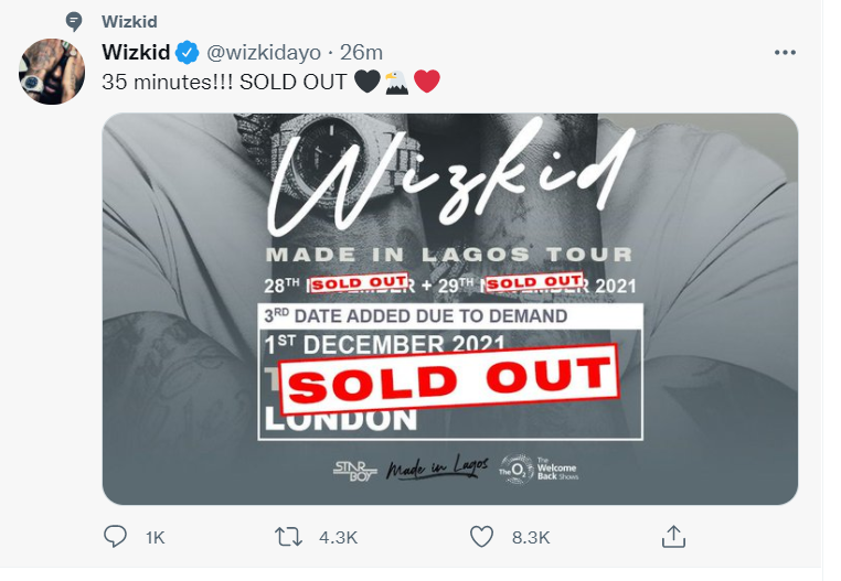 wizkid sell o2 3 times