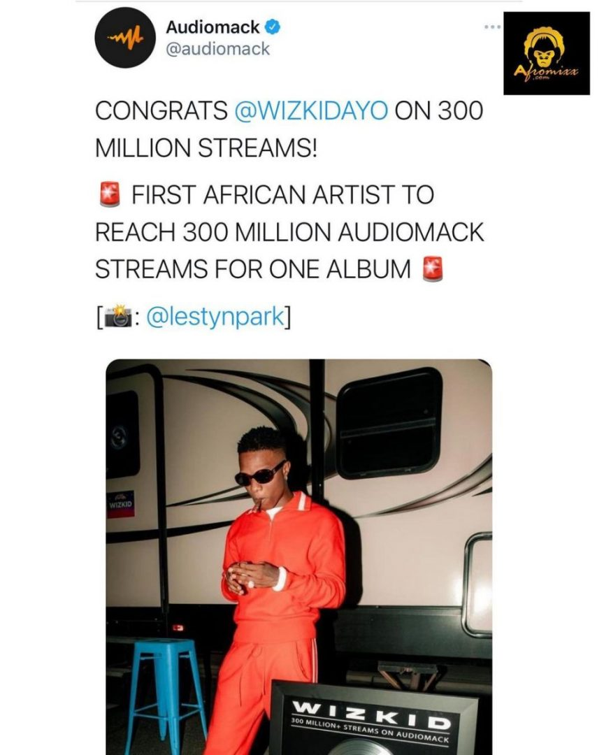 Wizkid becomes first African artist to reach 300 million Audiomack streams for one album