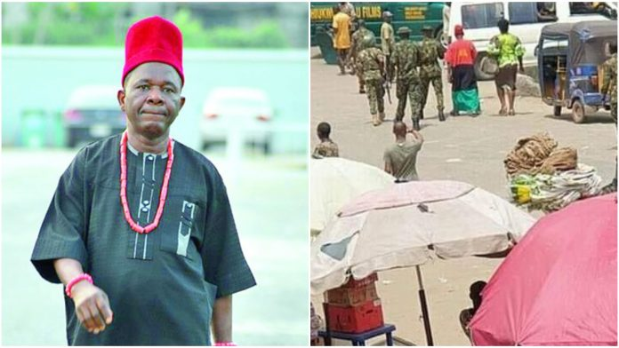 Watch moment Veteran actor Chinwetalu Agu was brutalized by soldiers for wearing a Biafran flag outfit